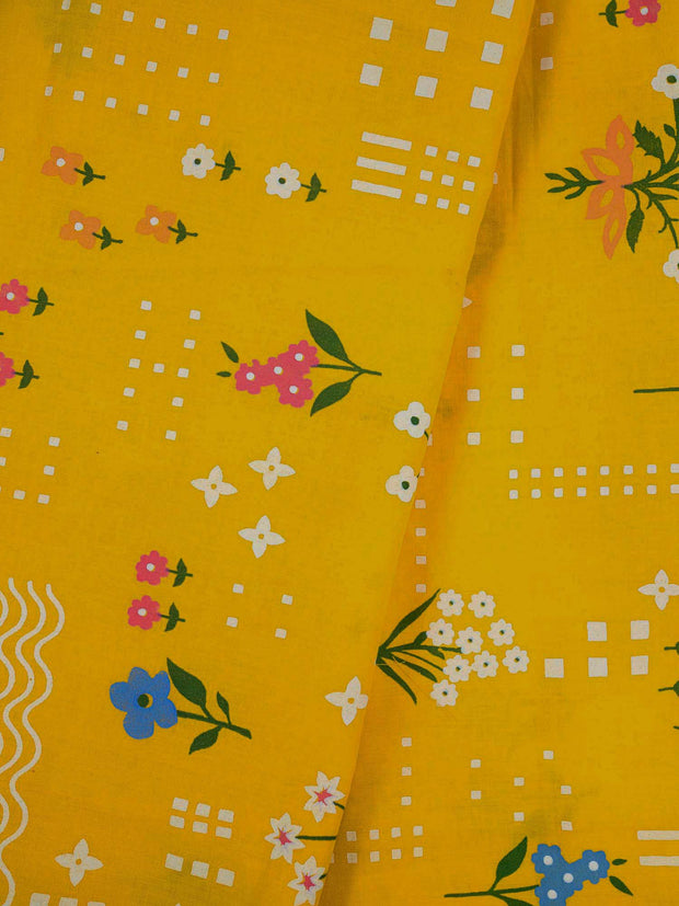 Mustard Cotton Printed Fabric