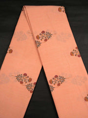 Peach Mughal Cotton Printed Fabric.