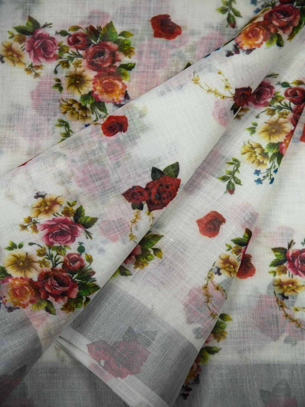 Semi Linen Fabric With Zari Border