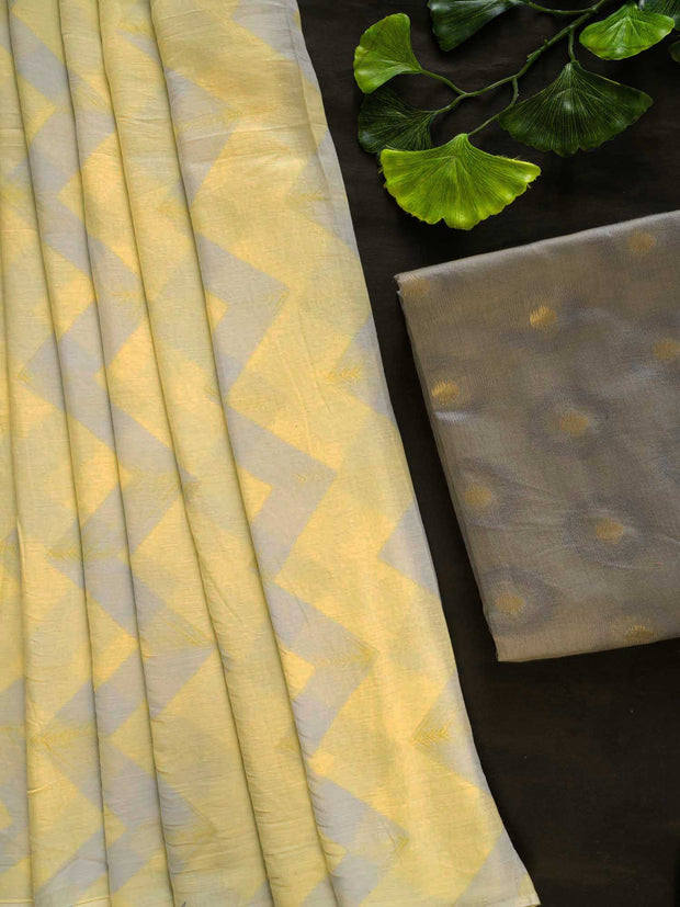 Pale Yellow Printed Cotton Mal Saree + Chanderi Butta Blouse