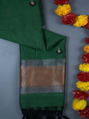 Green Embroidered Linen Dupatta