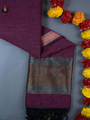 Purple Embroidered Linen Dupatta