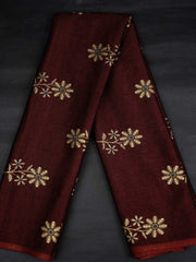 Maroon Rayon Gold Block Printed Fabric