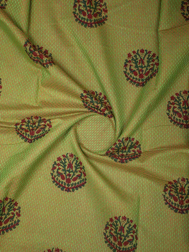 Handloom Cotton Blocked Printed Fabric(Pre Cut Of 3.5)