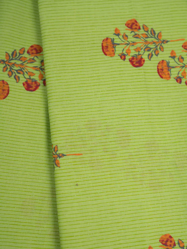 Green Mughal Cotton Printed Fabric.