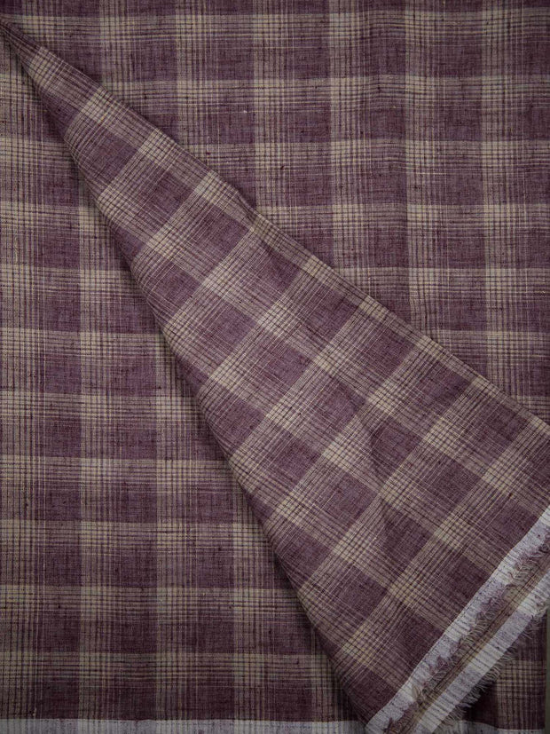 Cotton Linen Checkered Fabric ( Width 56' Inchs )