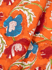 Orange Mughal Printed Fabric