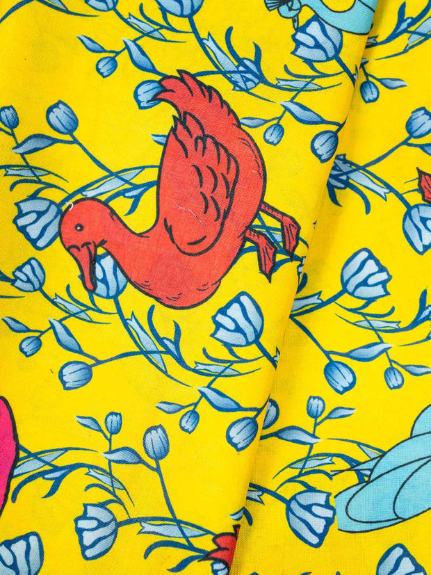 Yellow Cotton Flex Printed Fabric