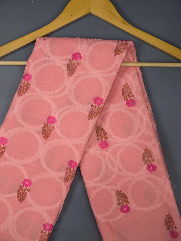 Pink Cotton Schiffli Printed Fabric