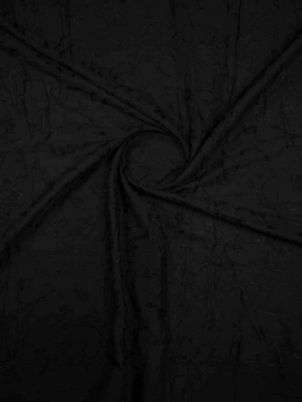 Black Cotton Mal Embroidery Fabric