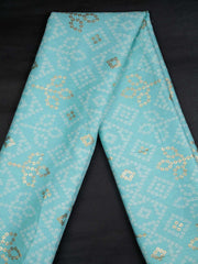 Blue Rayon Bandhani Printed Fabric