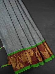 Light Green Narayanpet Handloom Mercerized Saree With Blouse