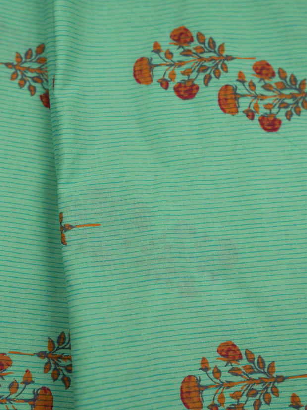 Sea Green Mughal Cotton Printed Fabric.