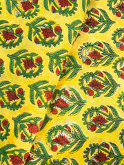Yellow Mughal Printed Fabric