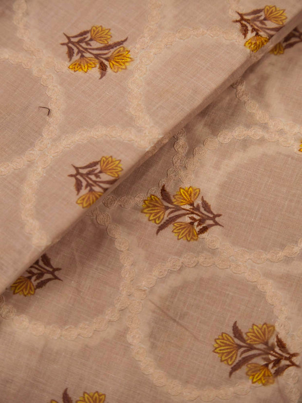 Dark Beige Cotton Schiffli Printed Fabric.