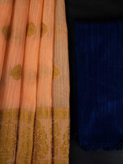 Poly Slub Fabric + Semi Raw Silk Fabric   (2 pc Saree set)