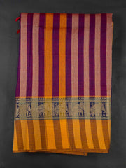 Purple Narayanpet Handloom Mercerized Saree With Blouse