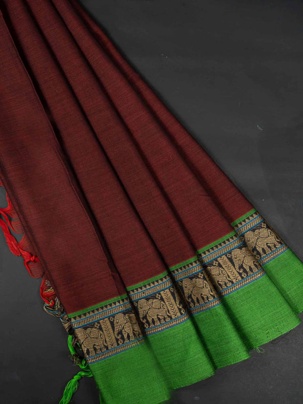 Maroon Narayanpet Handloom Mercerized Saree With Blouse