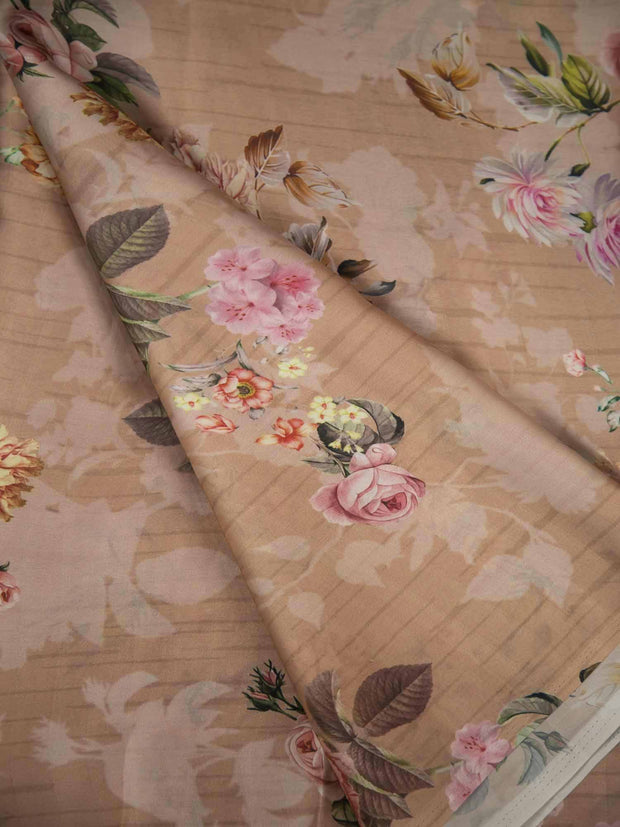 Beige Satin Georgette Fabric