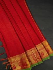 Red Narayanpet Handloom Mercerized Saree With Blouse