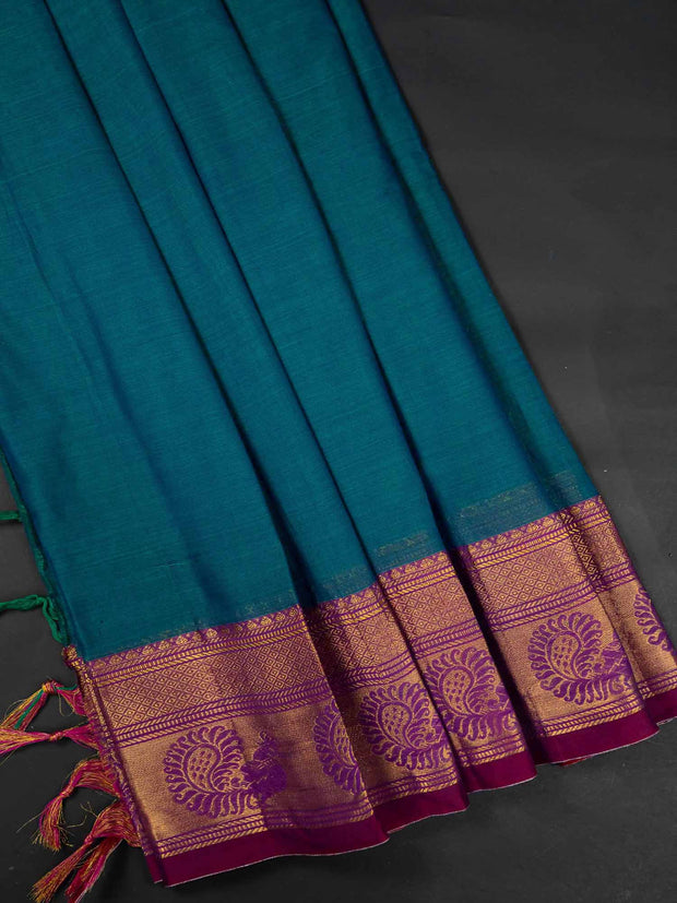 Teal Blue Narayanpet Handloom Mercerized Saree With Blouse