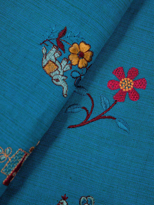 Blue Embroidered Cotton Fabric.