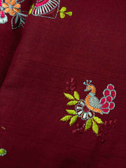 Maroon Embroidered Cotton Fabric.