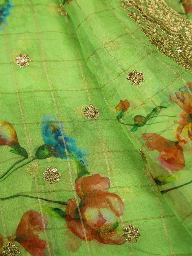 Green Organza Digital Printed Fabric With Zari Border.