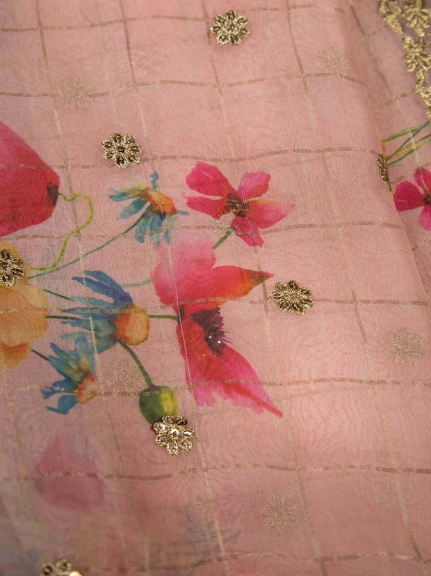 Pink Organza Digital Printed Fabric With Border.