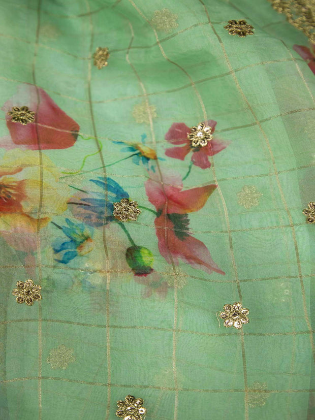 Green Organza Digital Printed Fabric With Border.