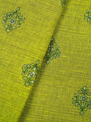 Rust Green Embroidered Cotton Fabric.