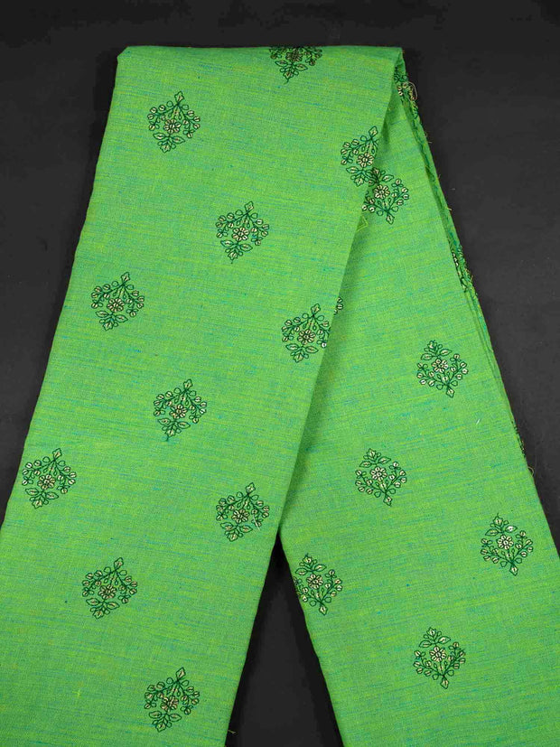Green Embroidered Cotton Fabric.