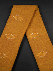 Rust Embroidered Cotton Fabric.