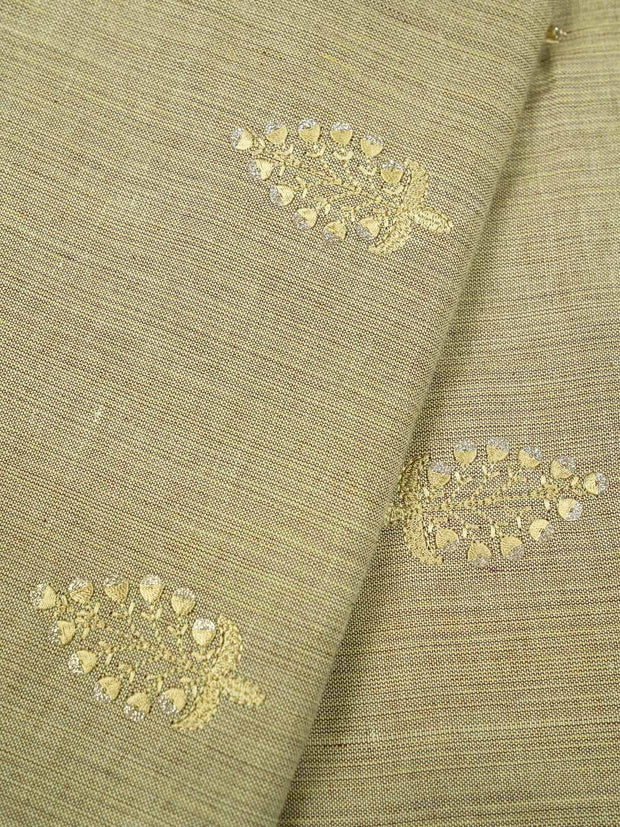 Beige Embroidered Cotton Fabric.