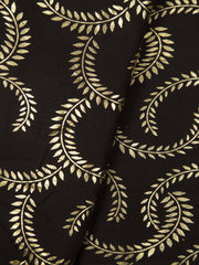 Dark Brown Cotton Printed Fabric
