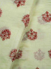 Pale Yellow Embroidered Muslin Fabric