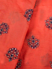 Red Embroidered Muslin Fabric