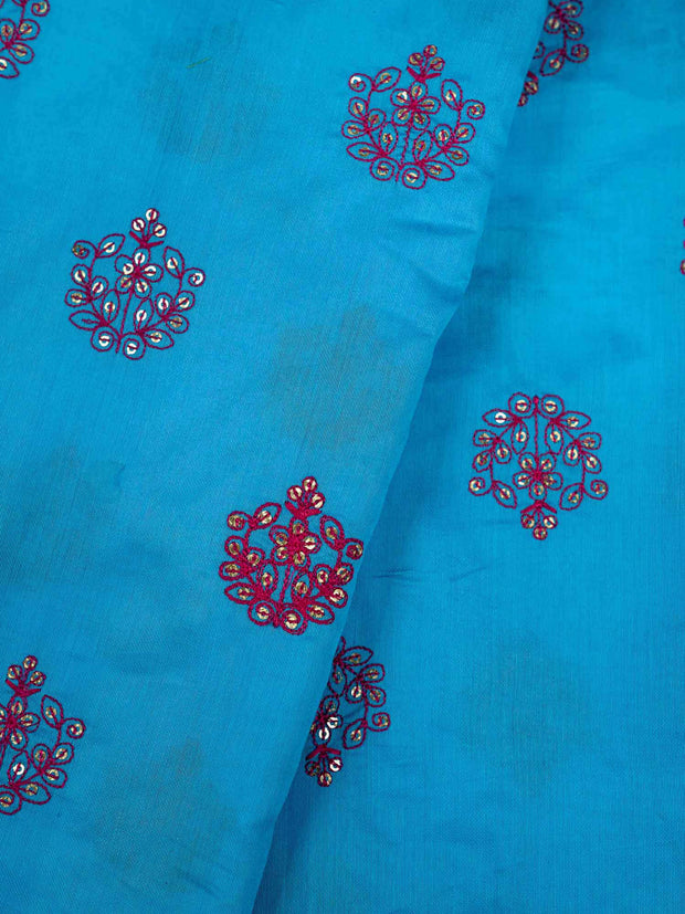 Blue Embroidered Muslin Fabric