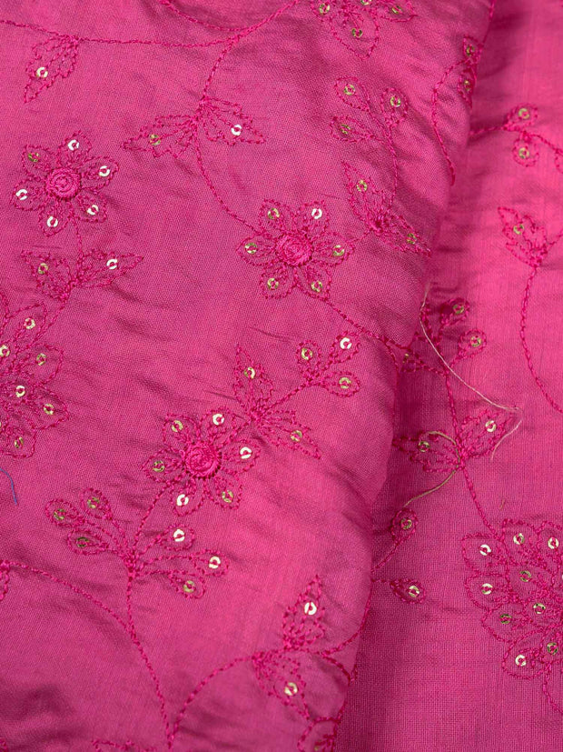 Pink Embroidered Muslin Fabric