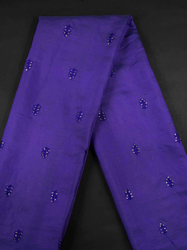 Purple Embroidered Muslin Fabric