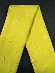 Yellow Embroidered Cotton Fabric.