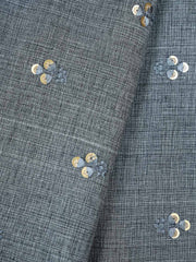 Grey Embroidered Cotton Fabric.