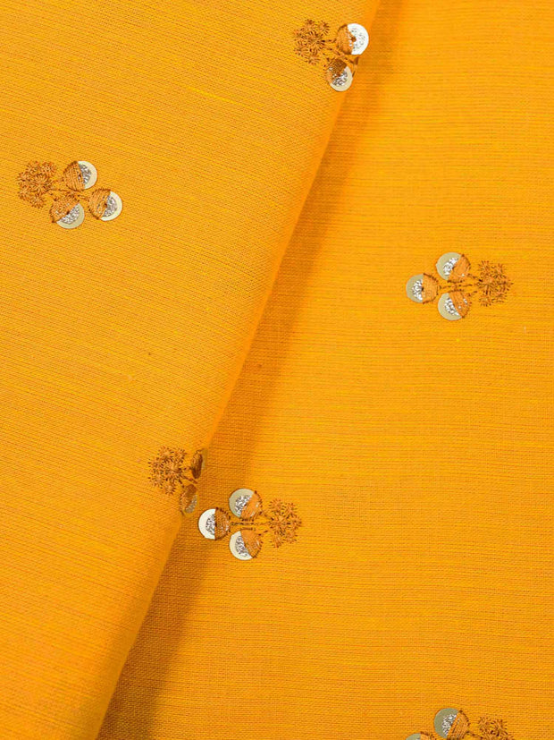 Mustard Embroidered Cotton Fabric.