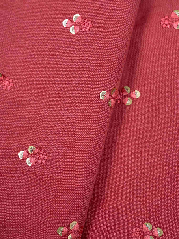 Pink Embroidered Cotton Fabric.