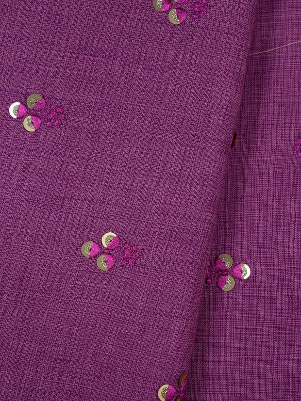 Purple Embroidered Cotton Fabric.