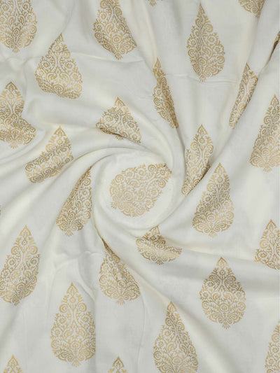 Rayon Gold Block Printed Fabric