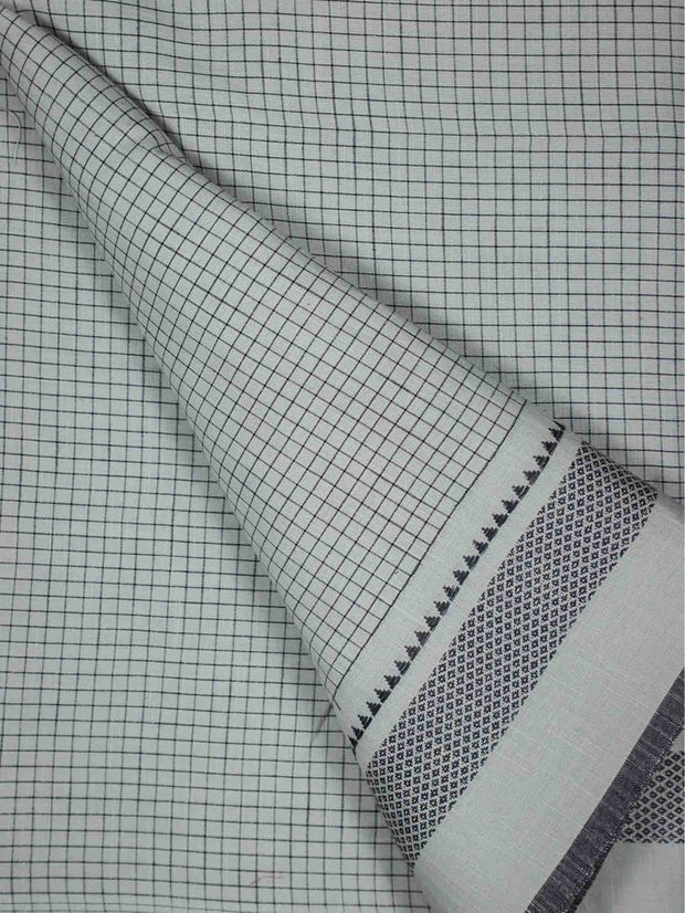 Cotton Checkered Fabric With Border ( Pre Cut Of 3.5 )