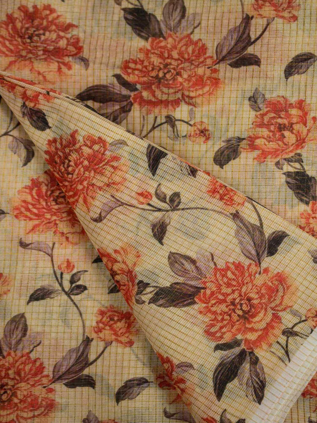 Kota Silk Embroidered Printed Fabric(Pre Cut Of 3.5)