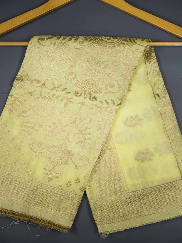 Light Lime Yellow Banarasi Silk Dupatta
