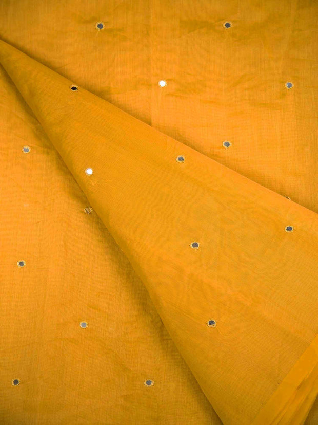 Yellow Chanderi Mirror Work Fabric